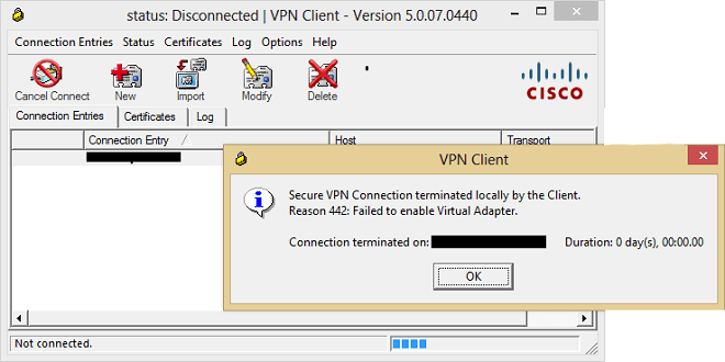 Cannot connect to meraki client vpn